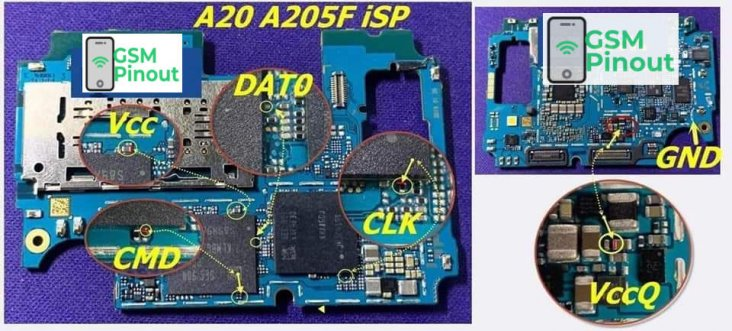 Samsung A20 SM-A205F ISP(EMMC) Pinout For EMMC Programming Flashing And Remove FRP Lock.jpg